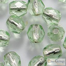 Silver Lined Peridot - 40 db - 4 mm csiszolt gyöngy (SL50500)