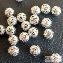 Óriás lyukú fém gyöngy - 1 db - antik ezüst színű, mérete: 10x10x6mm, furat:5 mm
