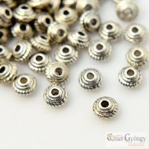 UFO fém köztes gyöngy - 50 db - antik ezüst színű, méret: 5x3mm, furat: 1.5mm (nikkel, ólom és kadmium mentes)