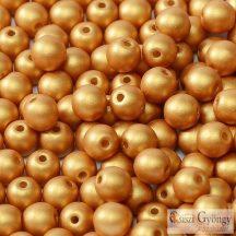 Matte Metallic Gold - 50 db - 3 mm golyó gyöngy (29421)
