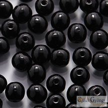 Opaque Black - 40 db - golyó gyöngy 4 mm