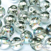 Crystal Silver Rainbow - 10 db - 8 mm cseh, üveg golyó gyöngy (98530)