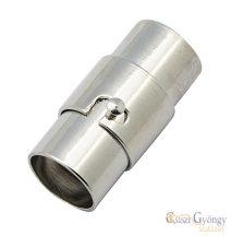 Magneskapocs - 1 db - ezüst színű, ragasztható, furatméret: 4 mm, hossza 15mm