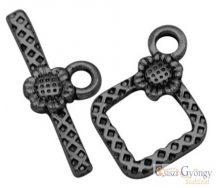Napraforgós T-kapocs -5 szett - metál fekete színű, mérete: 20 mm (Nickel, Lead Cadmium Free)