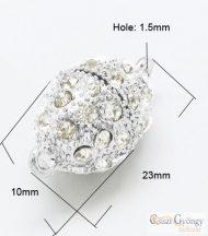 Strasszos mágneskapocs - 1 db - fényes ezüst színű, ovális, mérete: 10x23mm