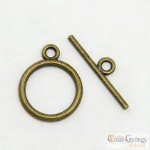 Egyszerű T-kapocs - 1 db - réz színű, mérete: 15 mm (nikkel, kadmium és ólom mentes)