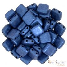 Metallic Suede Blue - 20 db - Tile gyöngy, mérete: 6x6 mm